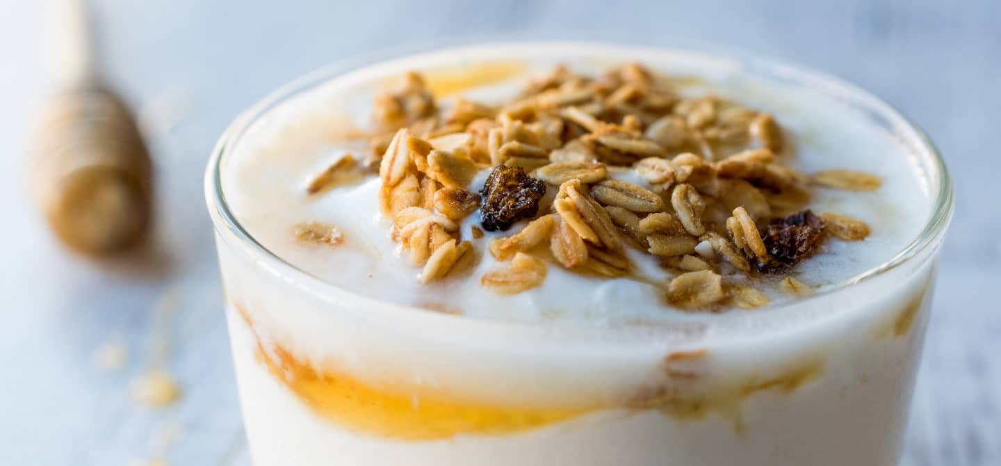 Homemade yogurt with honey and granola