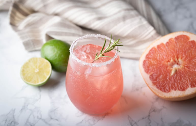 Healthy margarita with grapefruit and lime for Cinco de Mayo