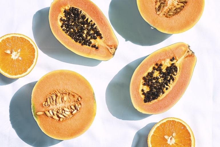 Fresh papaya, cantaloupe and oranges