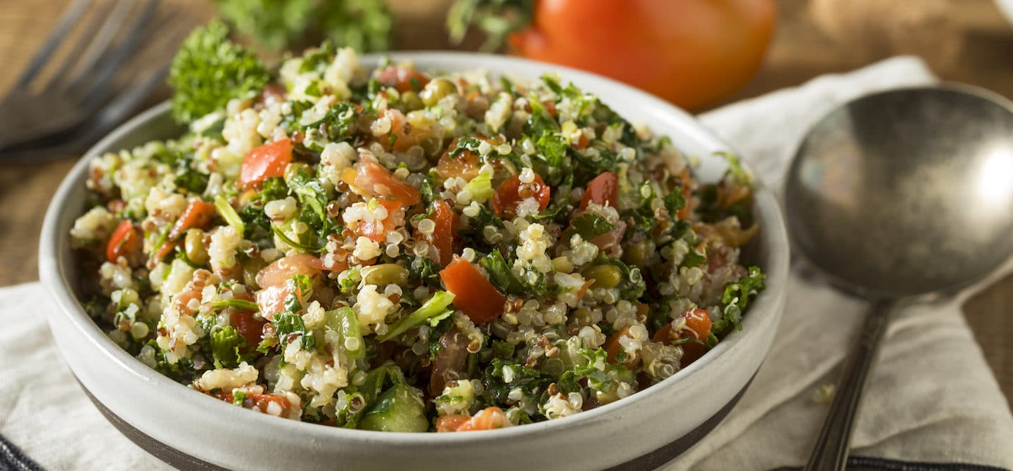 Healthy Organic Quinoa Tabouli Salad with Tomato and Cucumber