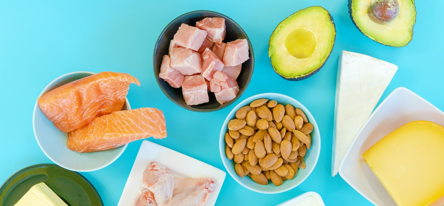 Salmon, almonds, avocado, cheese, and other keto diet foods