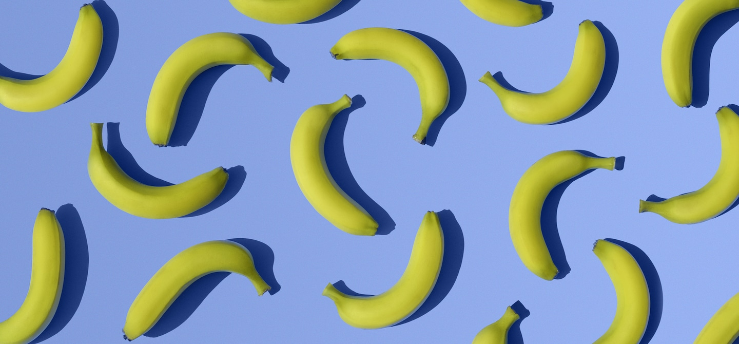 Bananas on bright blue background