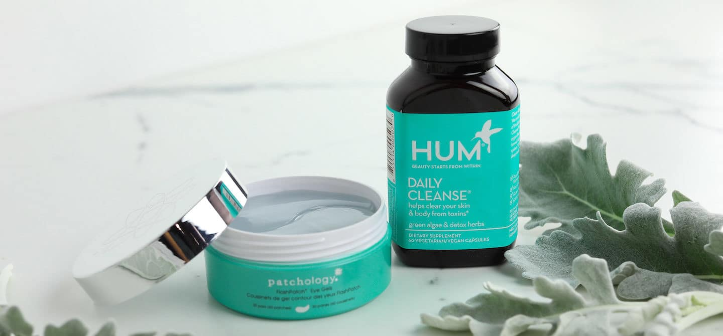 Patchology Undereye Masks with a bottle of Daily Cleanse by HUM Nutrition
