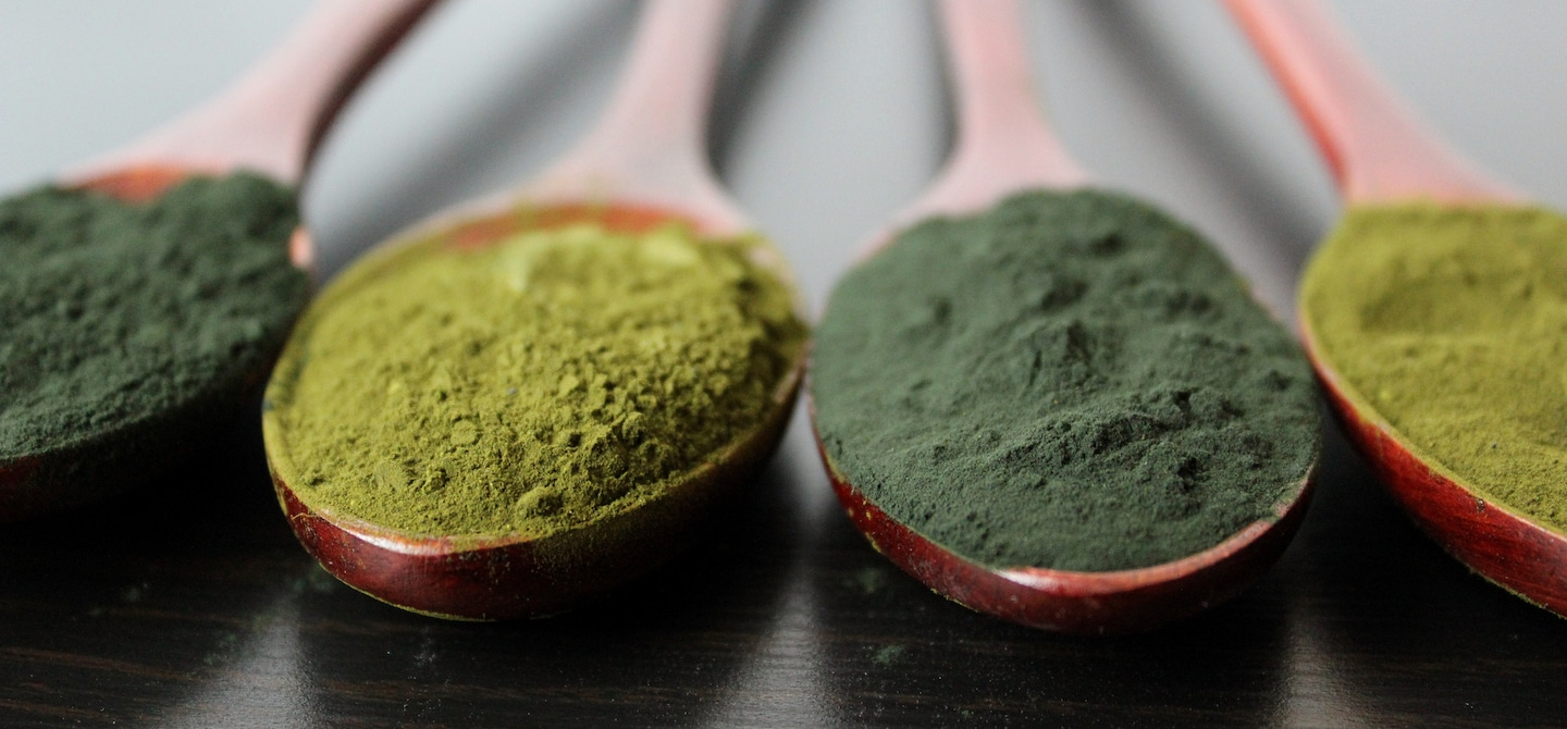 5 Green Superfoods in powder form in wooden spoons on table