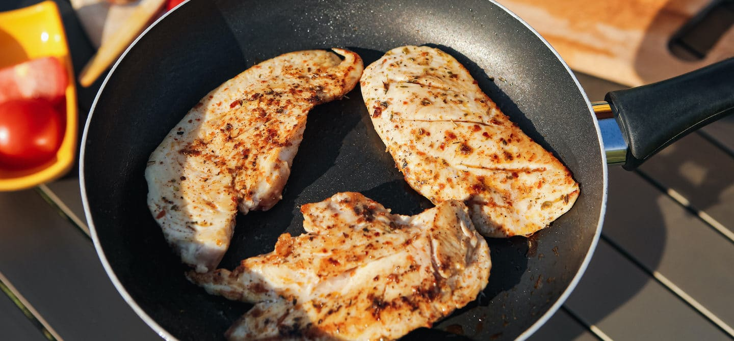 Grilled chicken on a skillet, approved to eat for good keto diet results