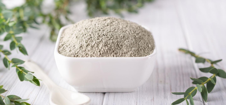 Ground powder in a bowl to make a DIY armpit detox mask