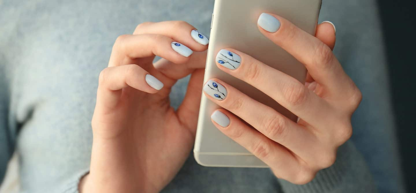 Nail art on strong nails after taking biotin supplement