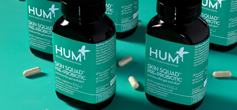 Bottles of HUM Nutrition Skin Squad