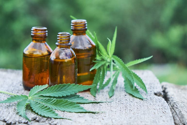 CBD Skincare Tinctures with leaves in nature