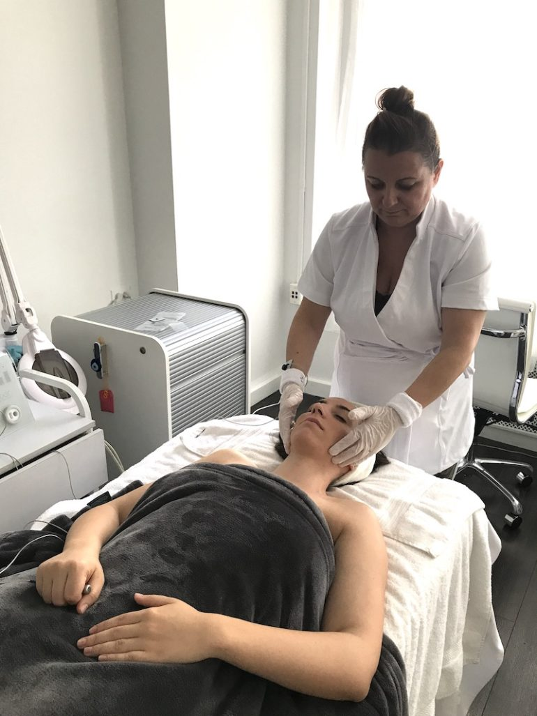 Woman getting CBD Vibe Facial at Ildi Pekar in New York City