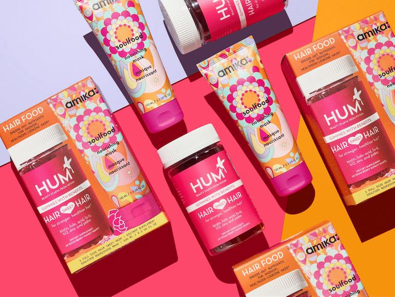Sephora's Hair Food Kit featuring HUM Nutrition's Hair Sweet Hair gummies and amika's soulfood nourishing hair mask