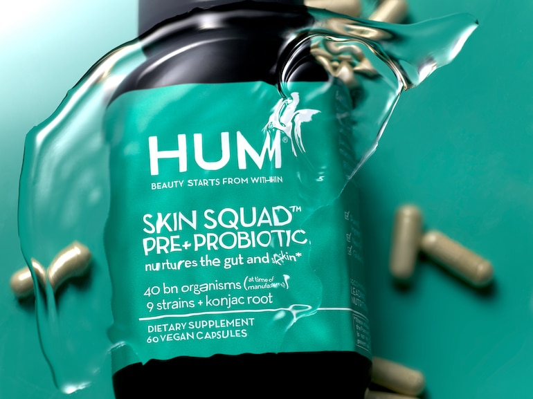 HUM Nutrition probiotic supplement for clear skin Skin Squad in water