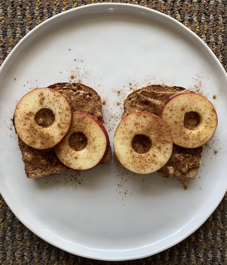 Dave's Killer Bread Toast with Sliced Applies and Cinnamon