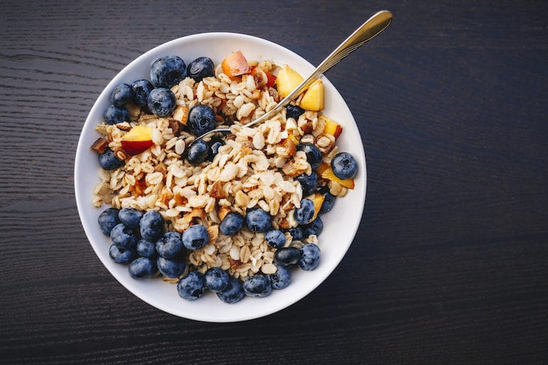 Healthier breakfast cereal alternative with less sugar, more fiber, and fresh blueberries.