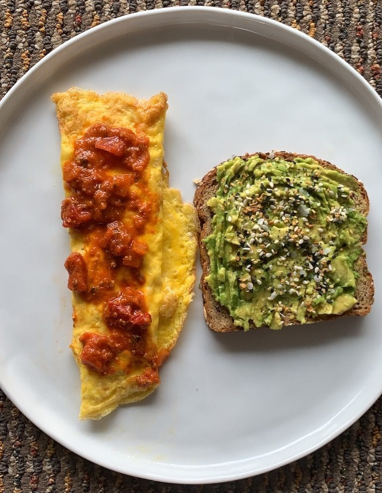 Omelette with Salsa and Smashed Avocado Toast