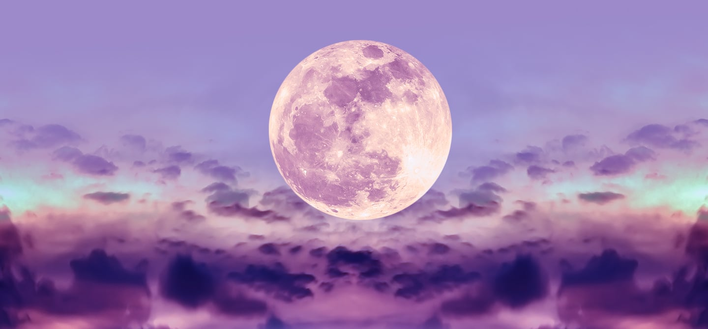 Full moon in purple and pink night sky