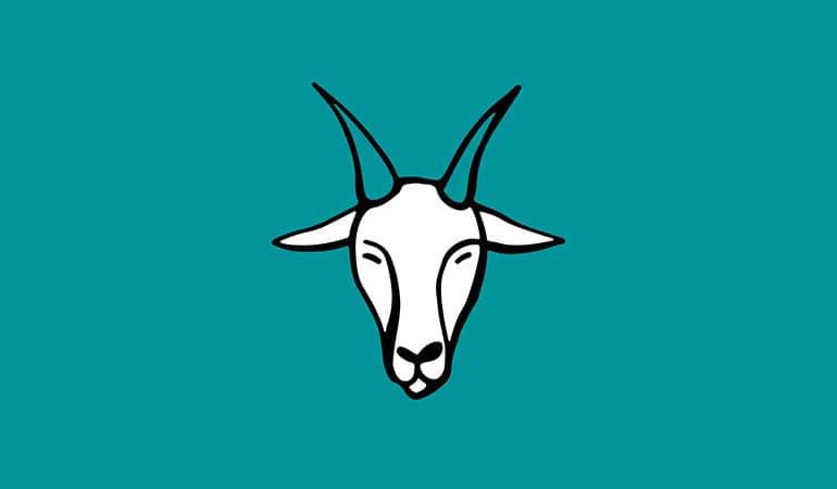 capricorn horned goat illustration on green background