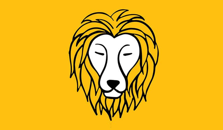 leo lion illustration on yellow bckground