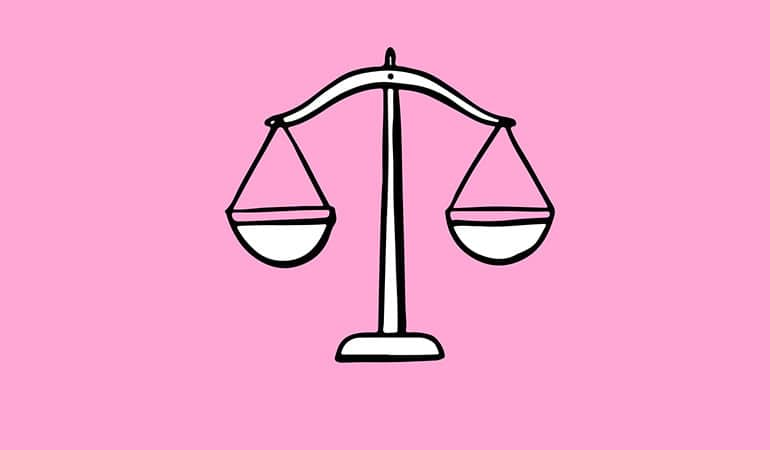 Libra scales illustration on pink background