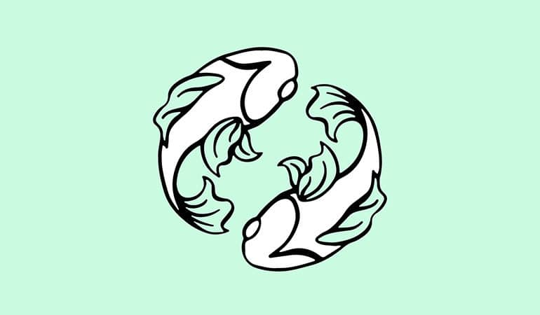 pisces fish illustration on blue green background
