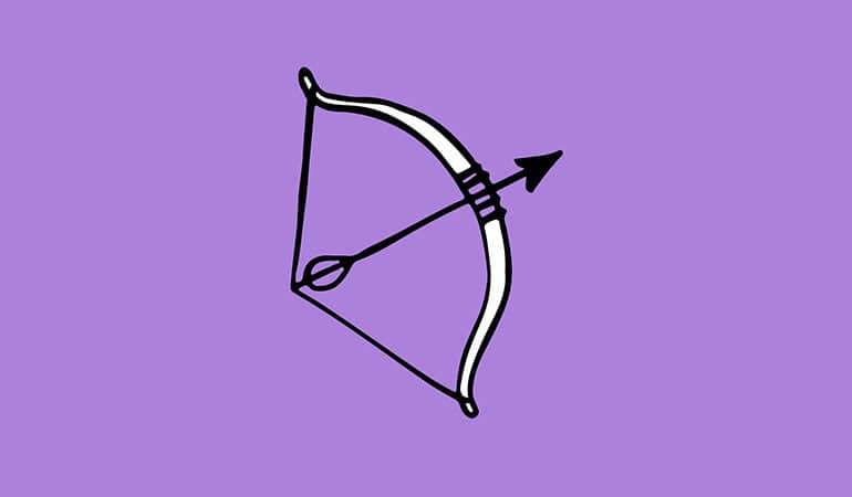 sagittarius archer symbol illustration with purple background