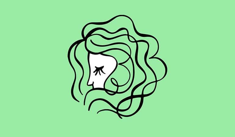 Virgo virgin symbol with green background