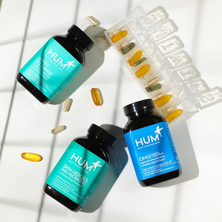 HUM Daily Cleanse Skin Heroes and OMG Omega supplements for clear skin