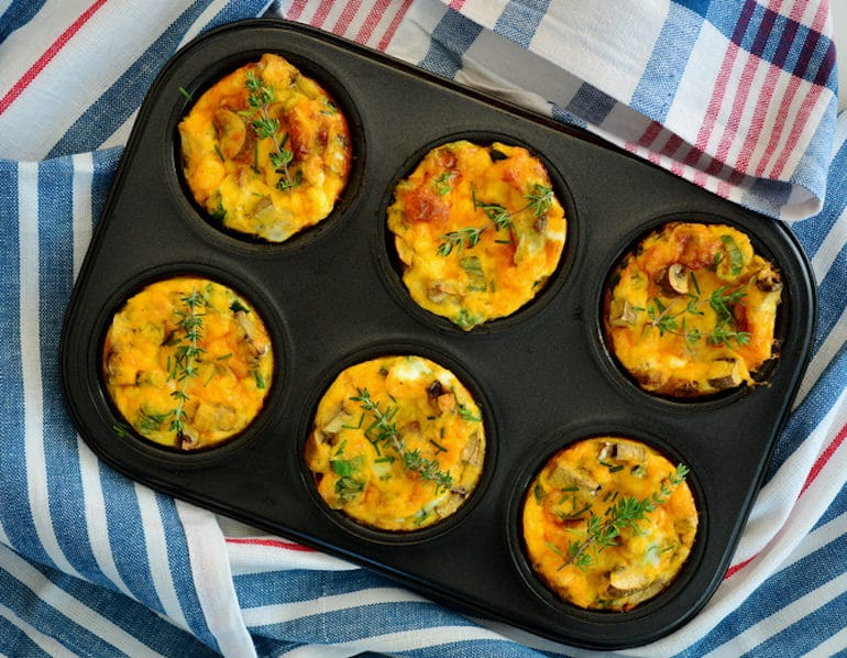egg muffins in cupcake tray