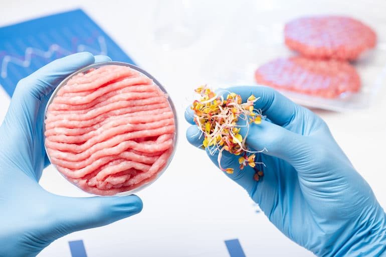 Scientist holding plant-based ingredients next to meat in a lab