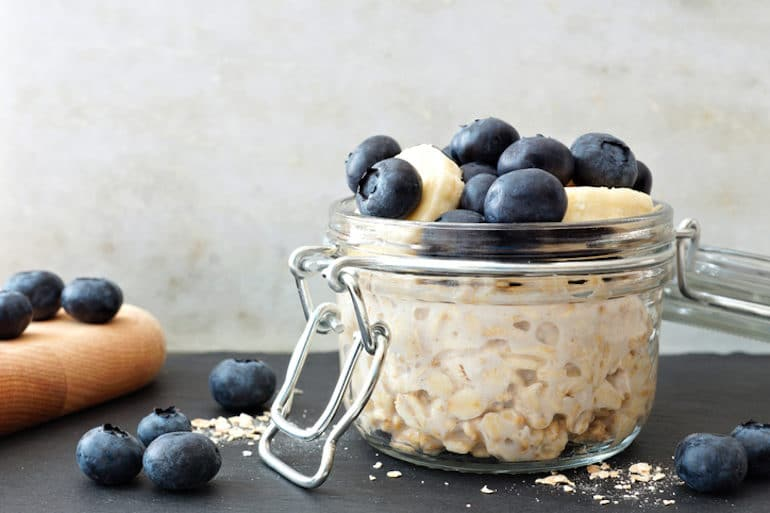Jar of overnight oats with blueberries - easy healthy breakfast ideas