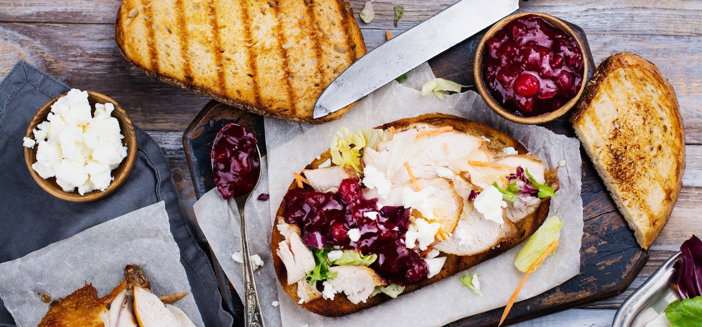 Turkey and cranberry sandwich for a Thanksgiving leftover meal
