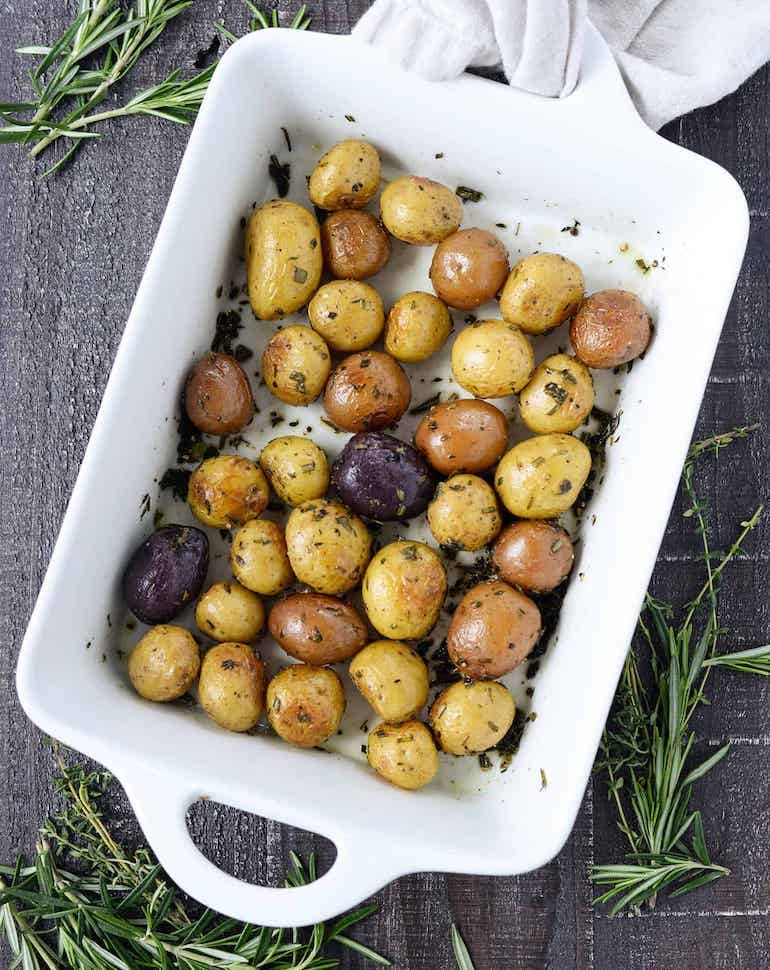 Herb-roasted potatoes for vegan thanksgiving recipes