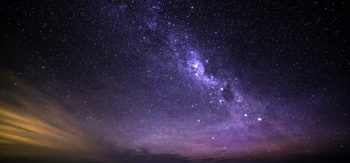 Colorful celestial night sky with Milky Way view