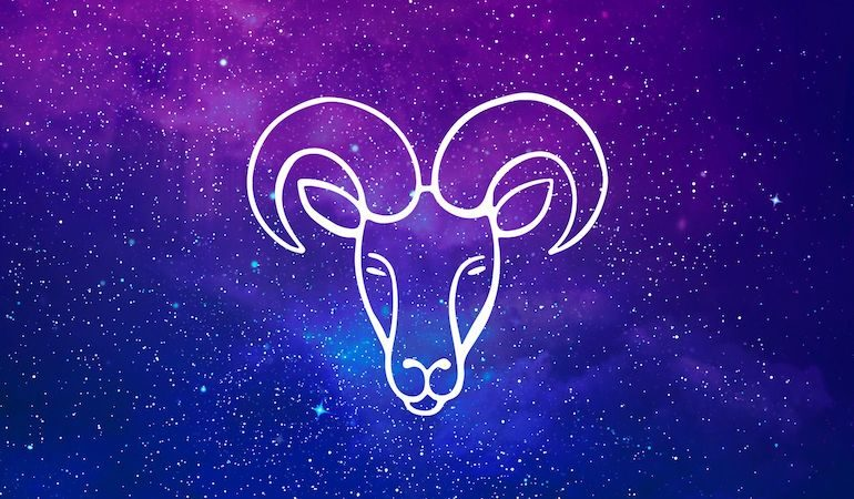 Aries ram symbol on purple and blue starry background