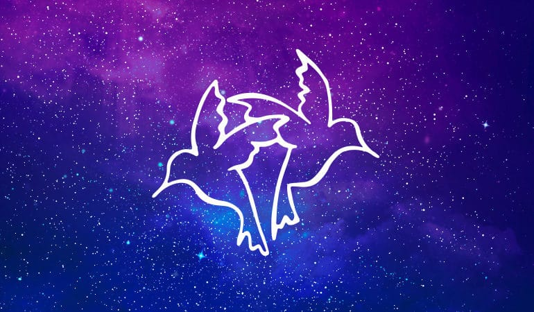 Gemini twins symbol on purple and blue starry background
