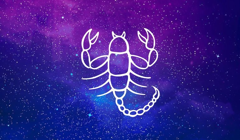 Scorpio scorpion symbol on purple and blue starry background