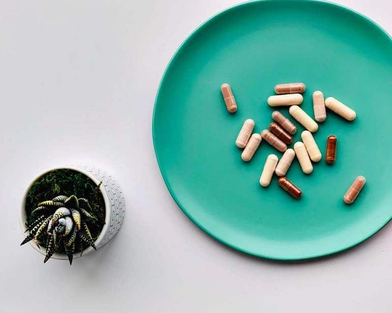 Dietitian's supplements on a plate