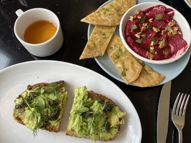 Sofia Tsakiridou breakfast with avocado toast and beetroot dip