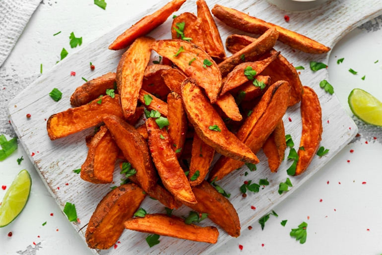 Healthy homemade sweet potato fries made with an air fryer