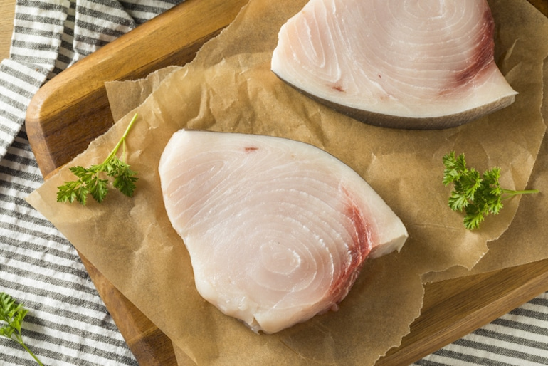 Raw organic swordfish, one of the best foods for vitamin D