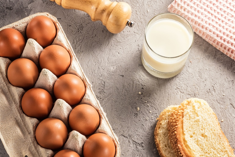 Common food allergens of eggs, milk, and gluten bread that you may want to avoid on an elimination diet