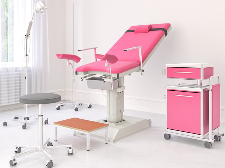 Gynecologist office with pink accents