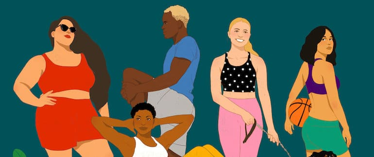 How I Built This podcast illustration of people wearing Outdoor Voices athleisure