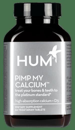 HUM Pimp My Calcium supplement in silver bottle