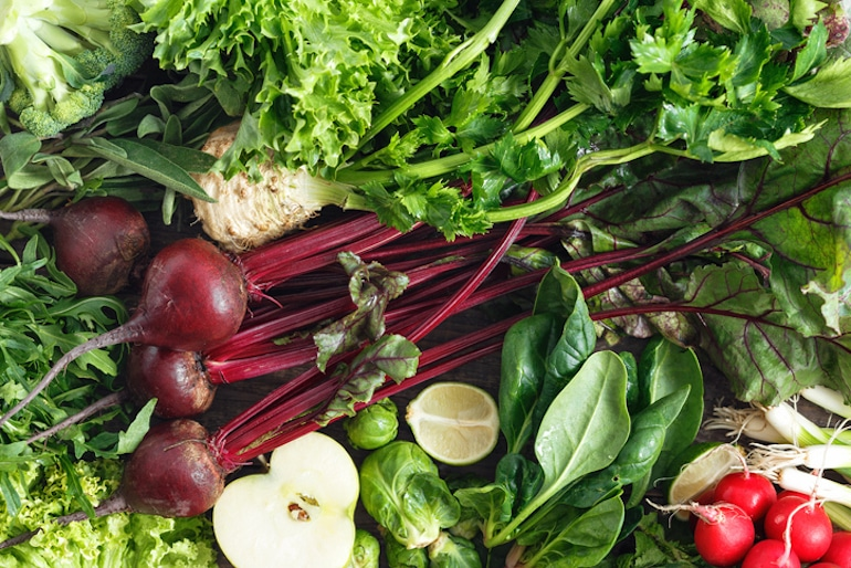 Beets, spinach, and other leafy greens that are rich in nitrates to convert to nitric oxide benefits
