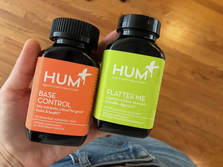 HUM Base Control multivitamin and Flatter Me digestive enzymes