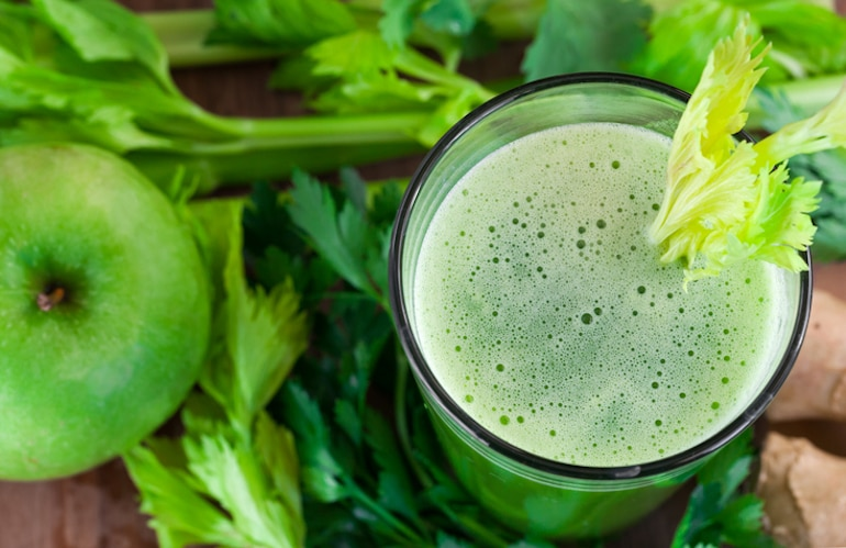 Green juice with lovage and apple, a key component of the sirtfood diet to lose weight
