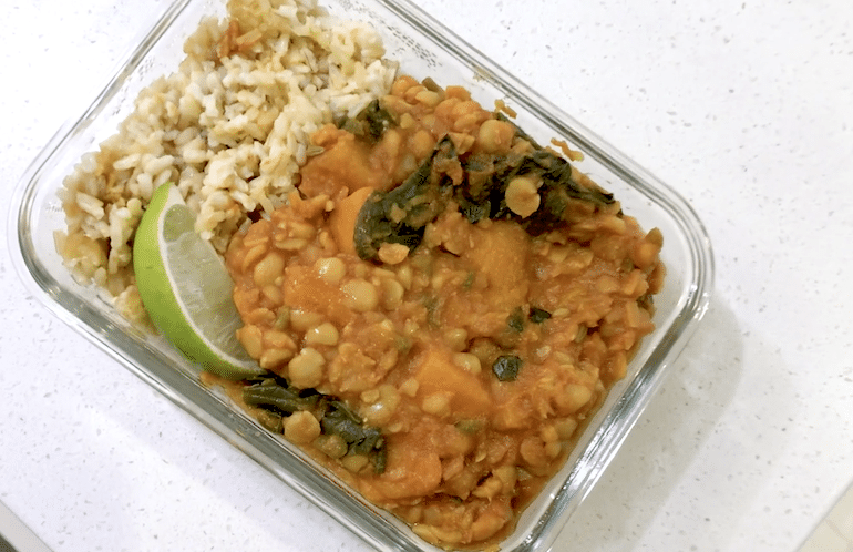 Yellow Split Pea Daal Lunch Leftovers on a WFPB Diet