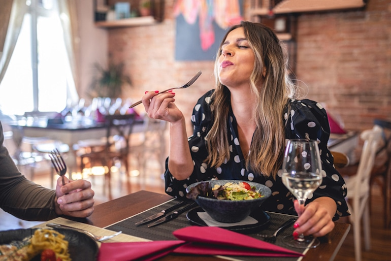 What is mindful eating? It's slowing down and savoring your food, even indulgences like wine