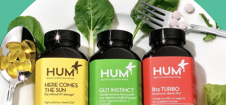 HUM vitamins with D3, probiotics, and B12 to illustrate how a personalized vitamin quiz can determine what supplements you should take